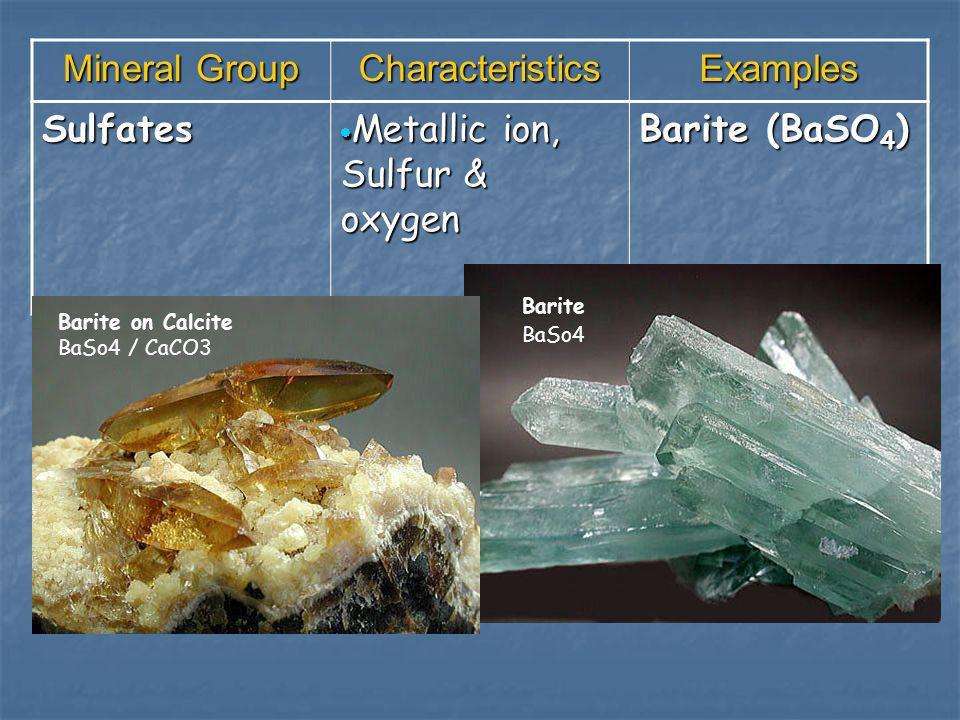 Metallic ion, Sulfur & oxygen Barite (BaSO4)