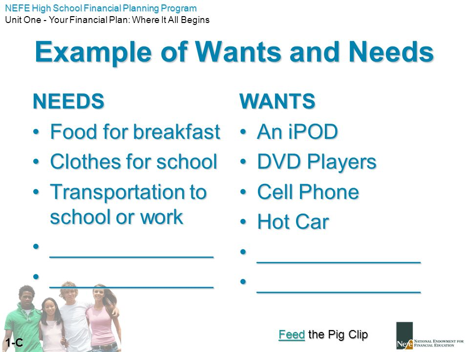 Example of Wants and Needs