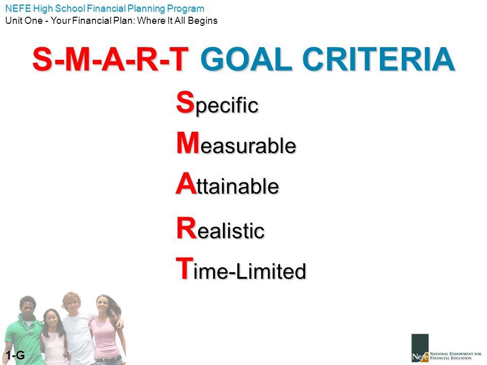S-M-A-R-T GOAL CRITERIA