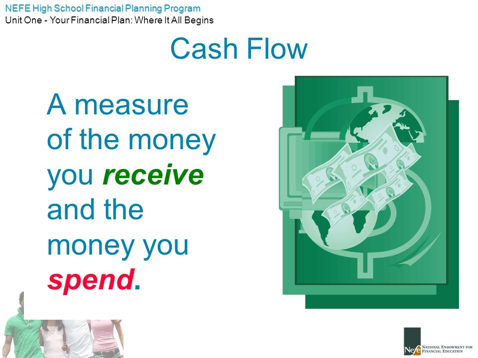 Cash Flow A measure of the money you receive and the money you spend.