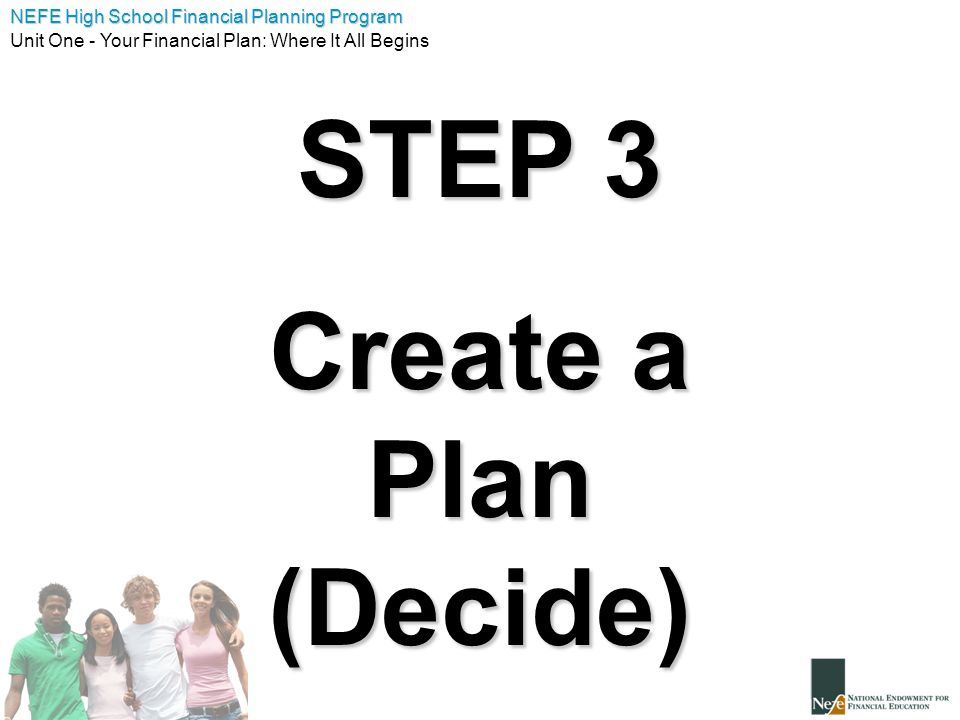STEP 3 Create a Plan (Decide)