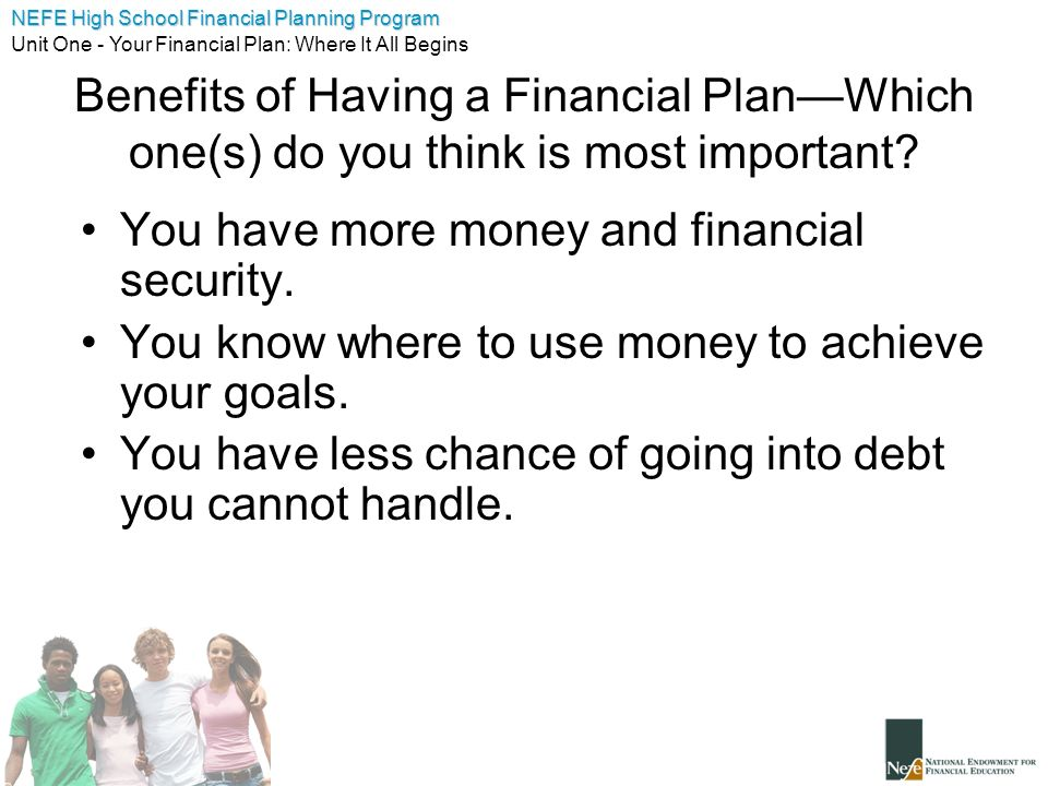 Benefits of Having a Financial Plan—Which one(s) do you think is most important