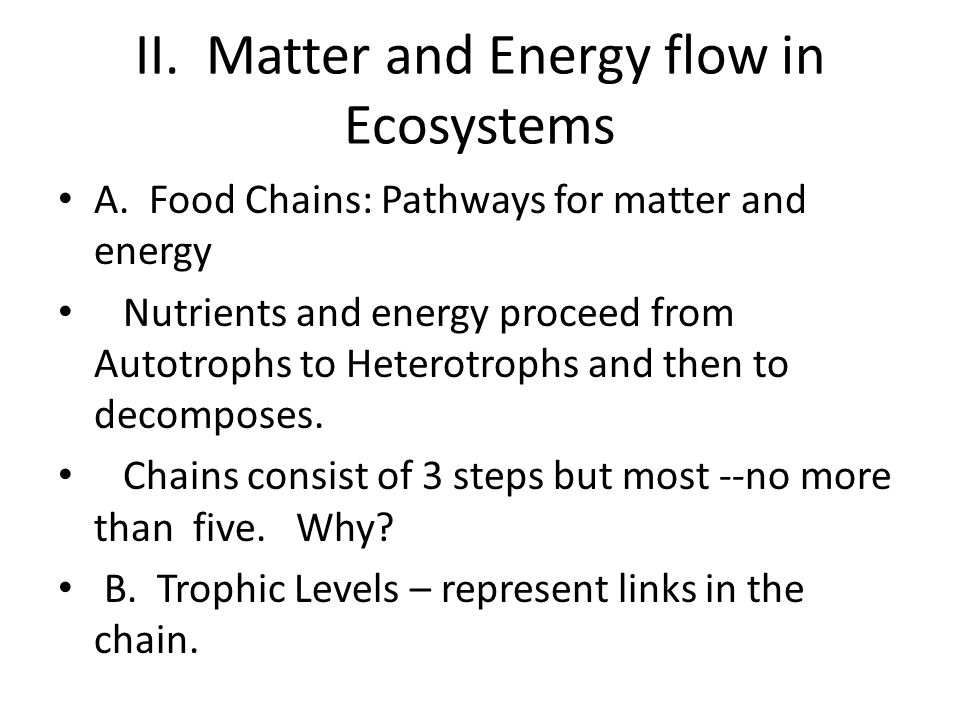 II. Matter and Energy flow in Ecosystems