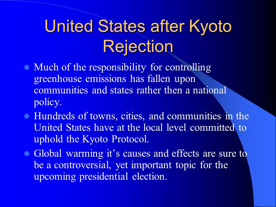United States after Kyoto Rejection