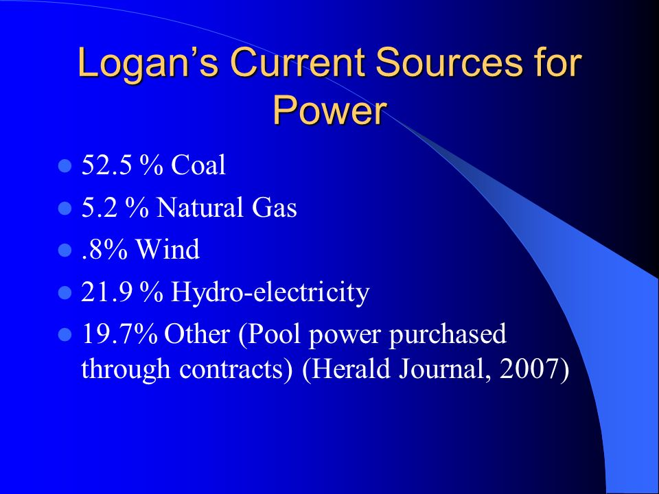 Logan's Current Sources for Power