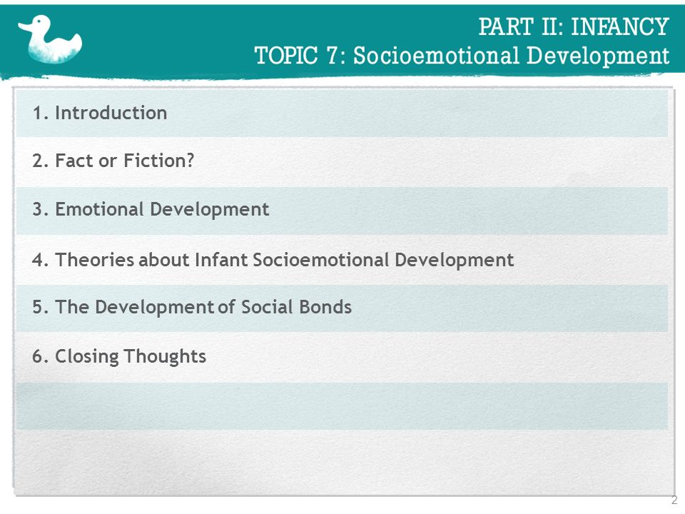 1. Introduction 2. Fact or Fiction 3. Emotional Development. 4. Theories about Infant Socioemotional Development.