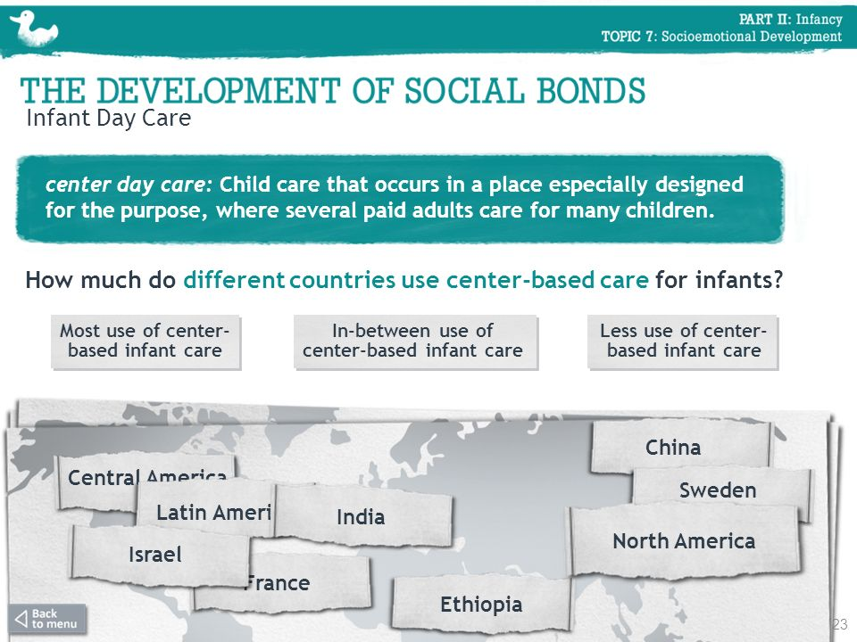How much do different countries use center-based care for infants