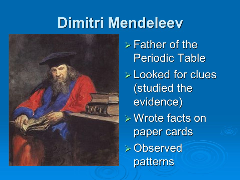 Dimitri Mendeleev Father of the Periodic Table