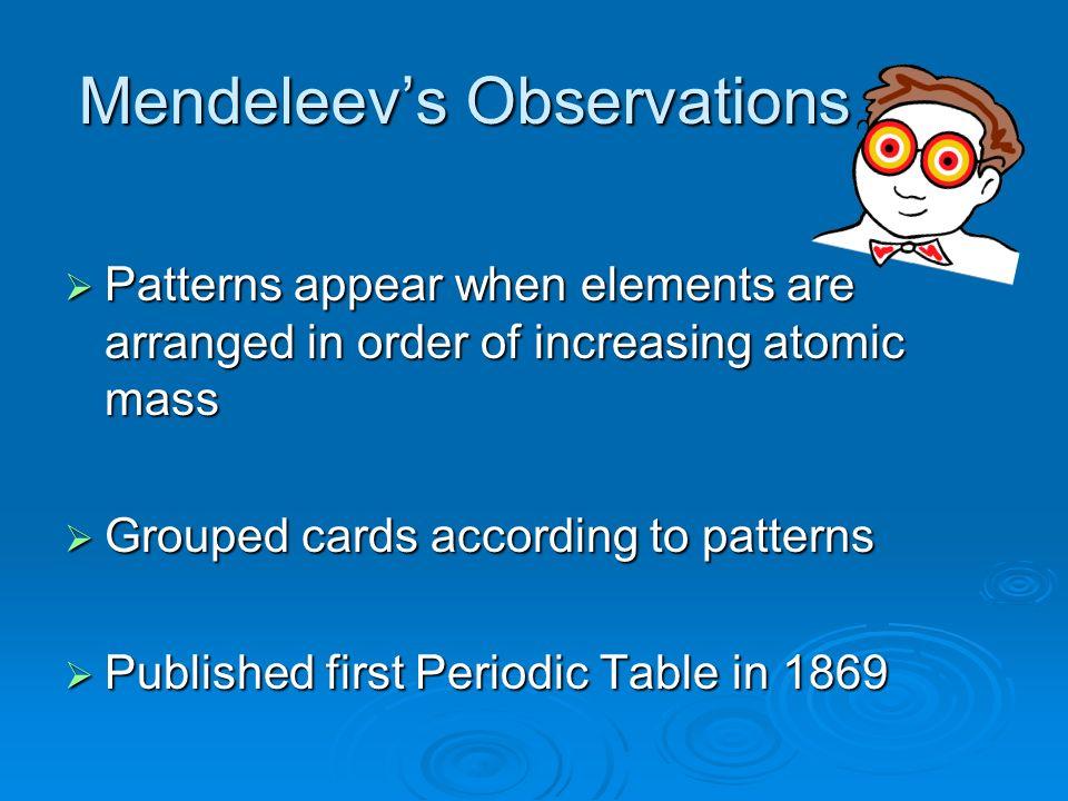Mendeleev's Observations