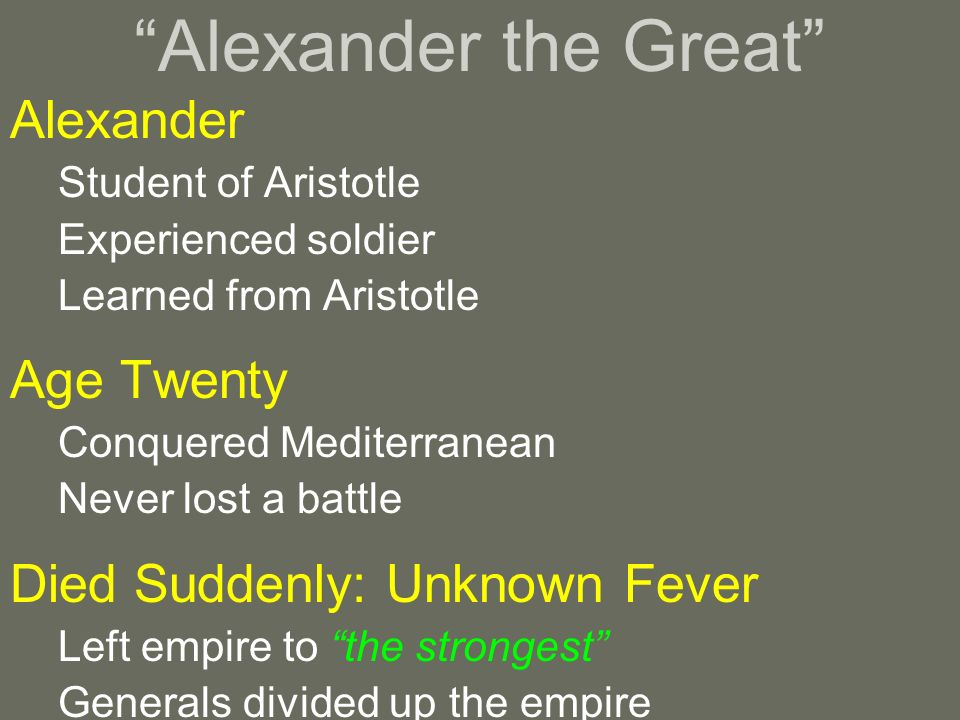 Alexander the Great Alexander Age Twenty