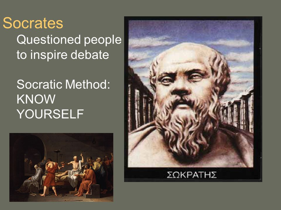 Socrates Questioned people to inspire debate Socratic Method: