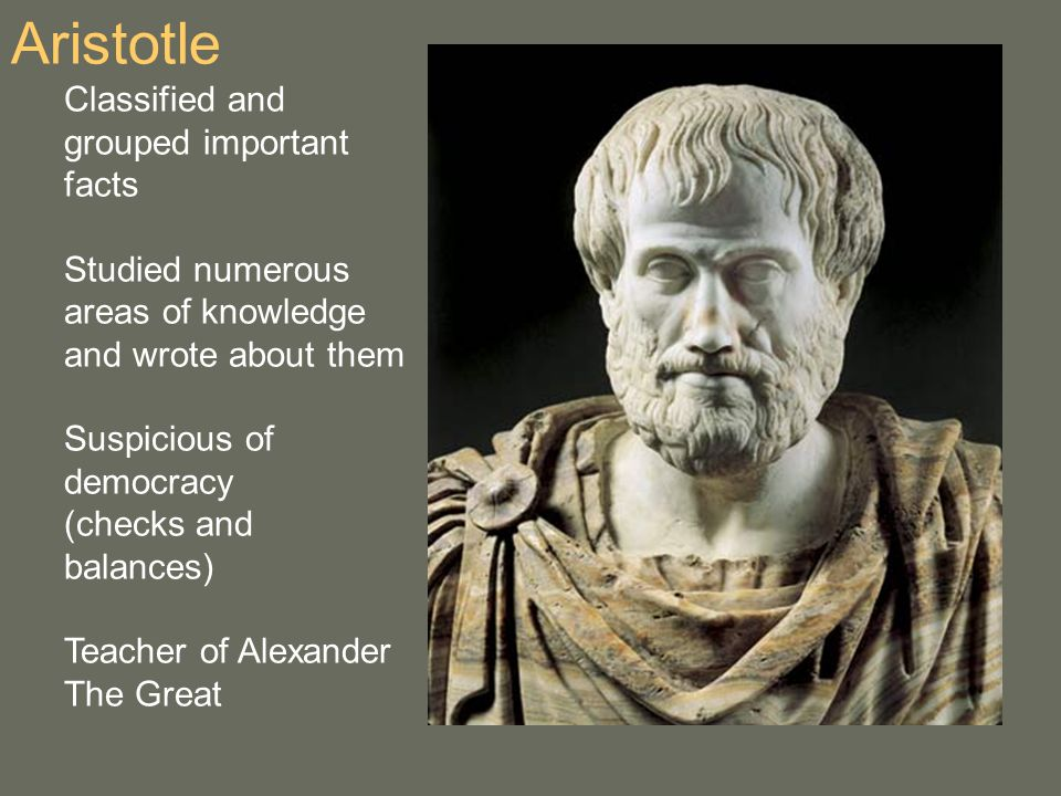 Aristotle Classified and grouped important facts