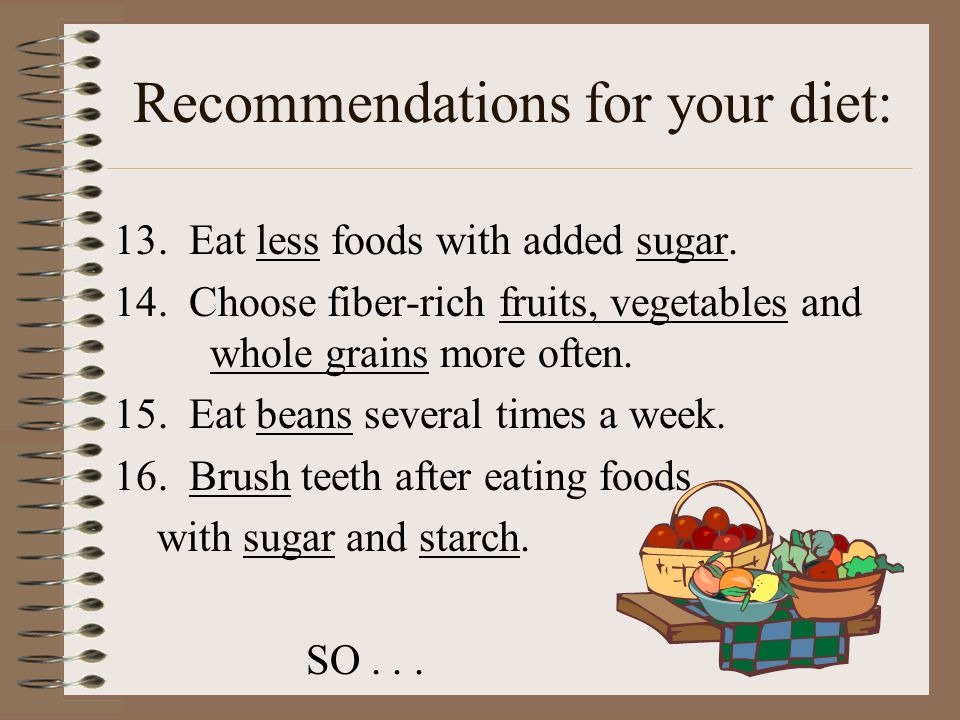 Recommendations for your diet:
