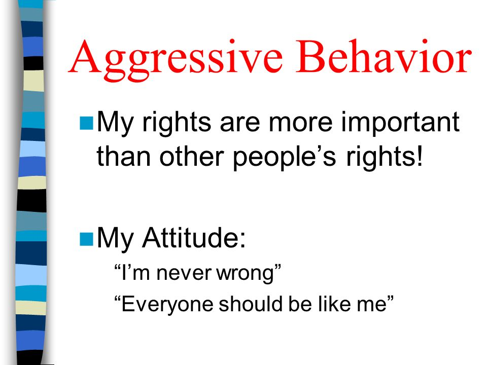 Aggressive BehaviorMy rights are more important than other people's rights! My Attitude: I'm never wrong