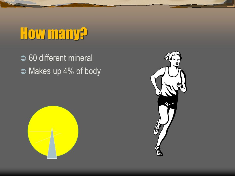 How many 60 different mineral Makes up 4% of body