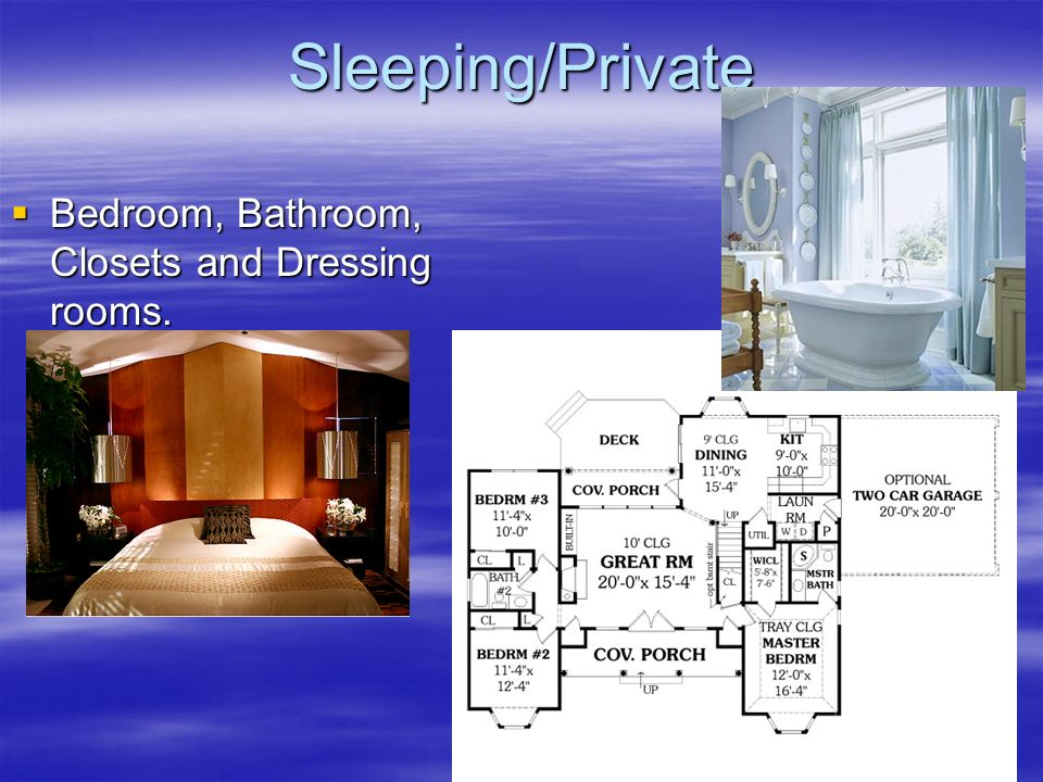 Sleeping/Private Bedroom, Bathroom, Closets and Dressing rooms.