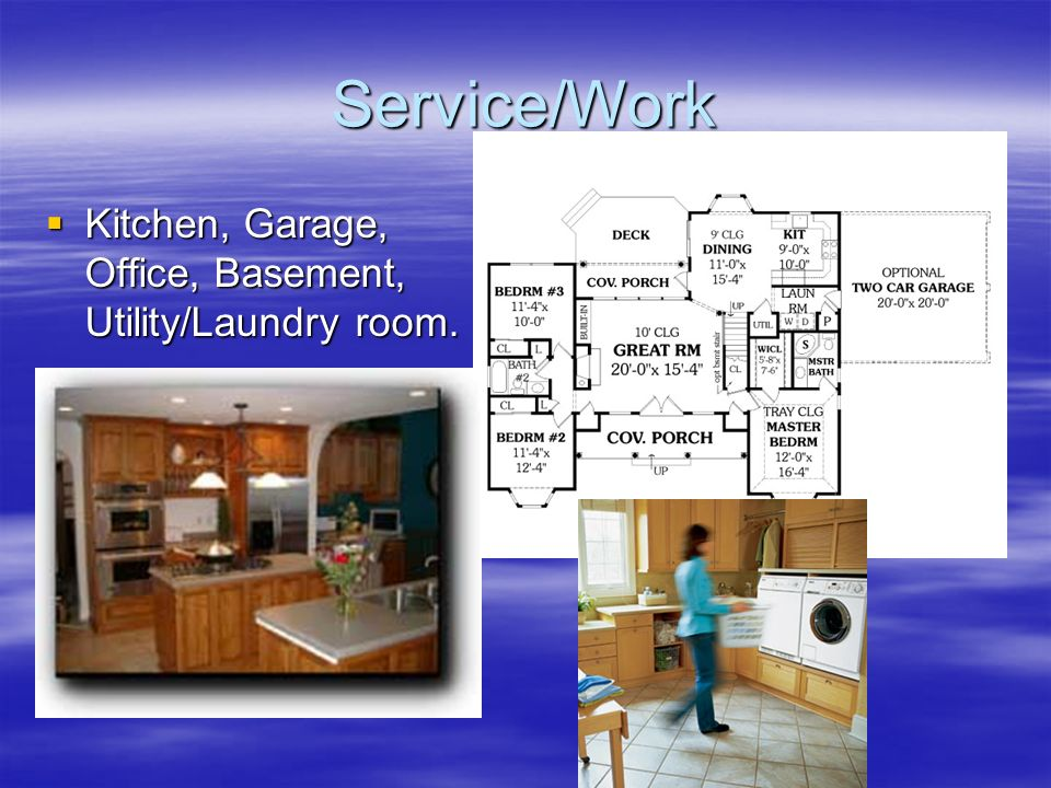 Service/Work Kitchen, Garage, Office, Basement, Utility/Laundry room.