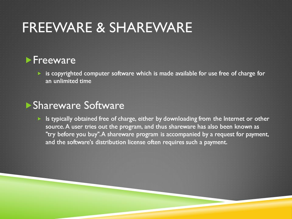 Freeware & Shareware Freeware Shareware Software
