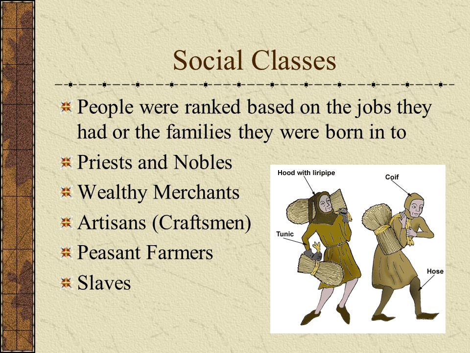 Social Classes People were ranked based on the jobs they had or the families they were born in to. Priests and Nobles.