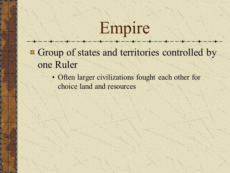 Empire Group of states and territories controlled by one Ruler