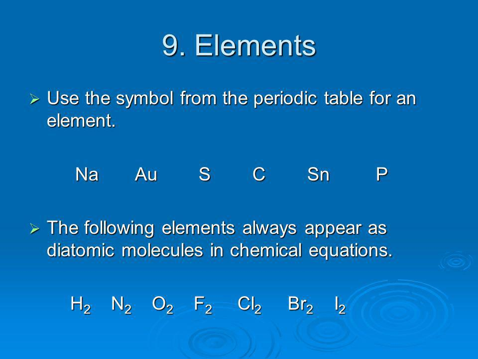 how to use diatomic elements in chemical equations