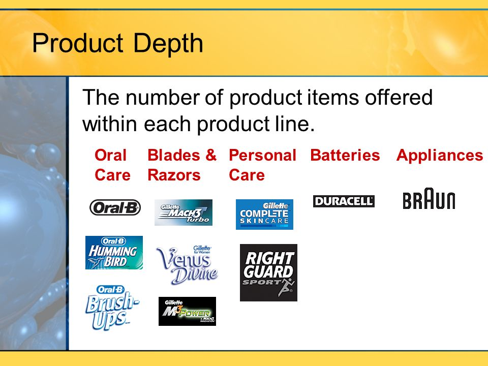 Product Depth The number of product items offered within each product line. Oral Care. Blades & Razors.