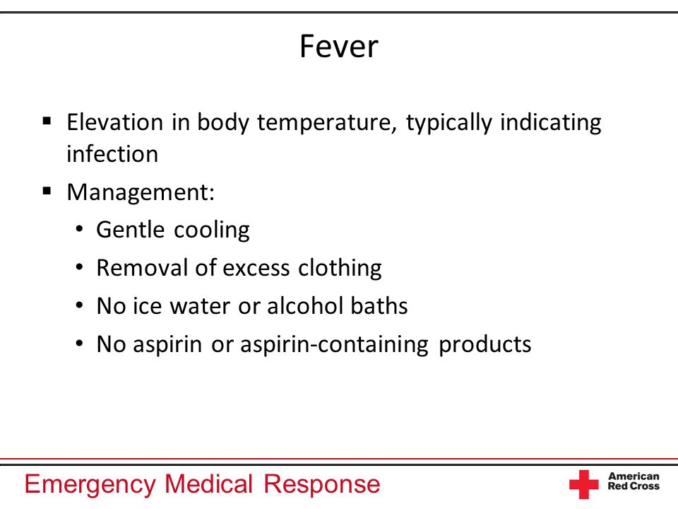 Fever Elevation in body temperature, typically indicating infection