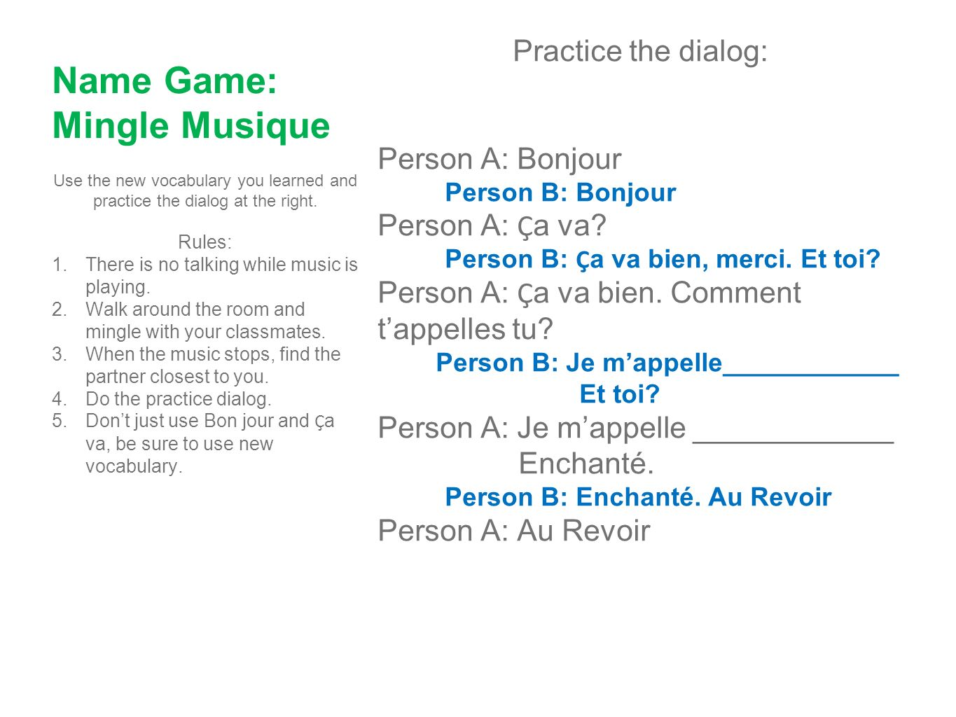 Name Game: Mingle Musique