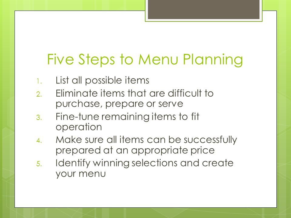Five Steps to Menu Planning