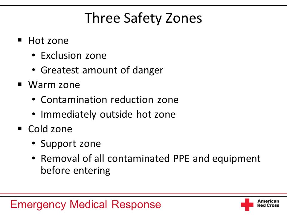 Three Safety Zones Hot zone Exclusion zone Greatest amount of danger