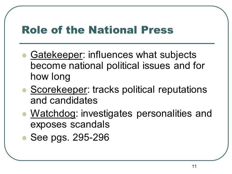 Role of the National Press