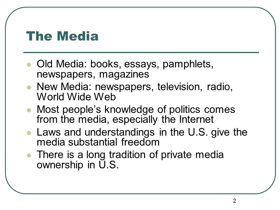 chapter twelve the media ppt video online  the media old media books essays pamphlets newspapers magazines