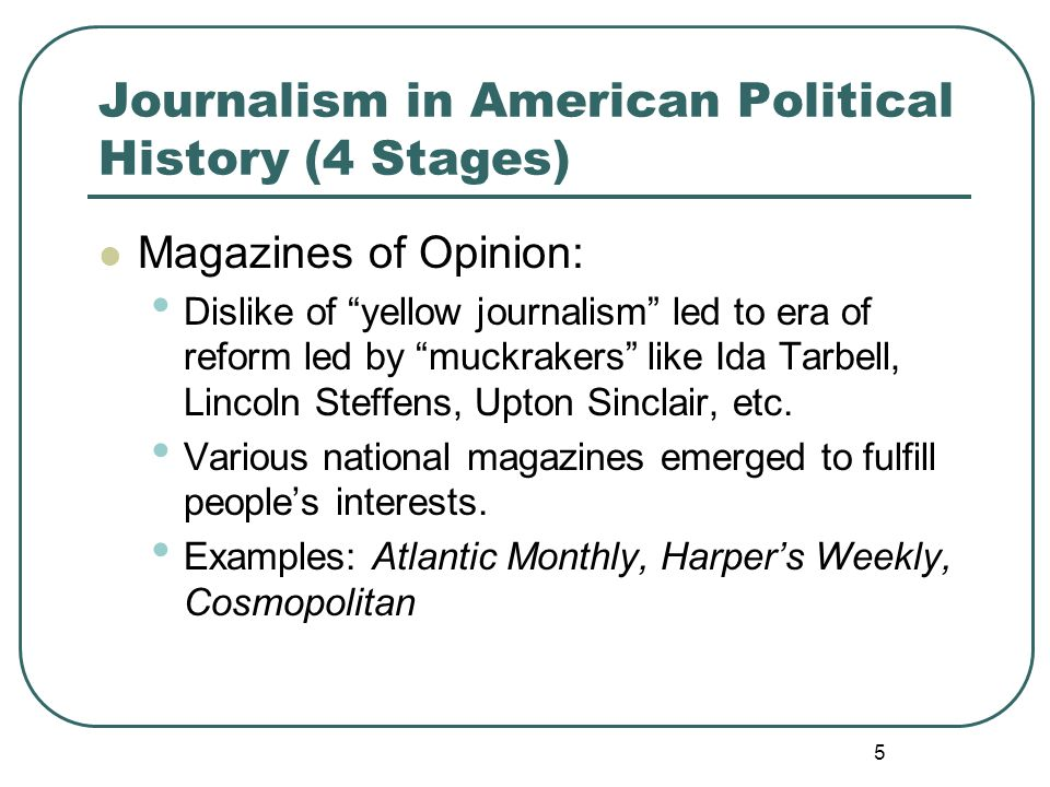 Journalism in American Political History (4 Stages)