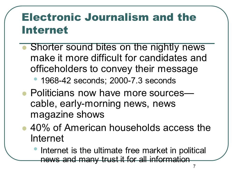 Electronic Journalism and the Internet
