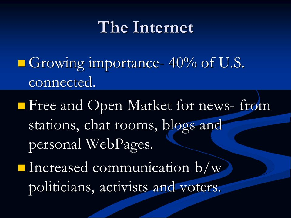 The Internet Growing importance- 40% of U.S. connected.