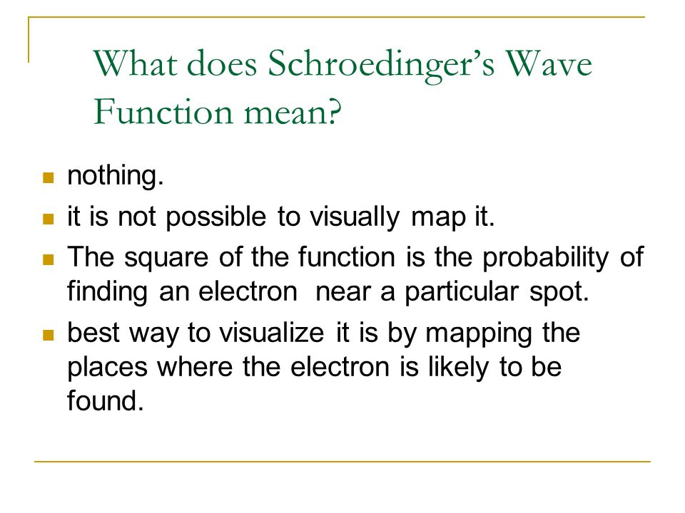 What does Schroedinger's Wave Function mean