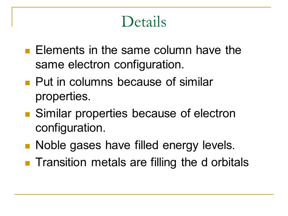 Details Elements in the same column have the same electron configuration. Put in columns because of similar properties.