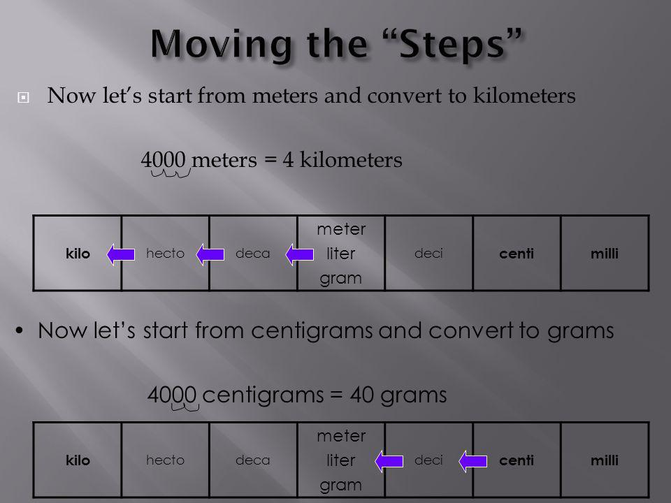 Moving the Steps Now let's start from meters and convert to kilometers meters = 4 kilometers.
