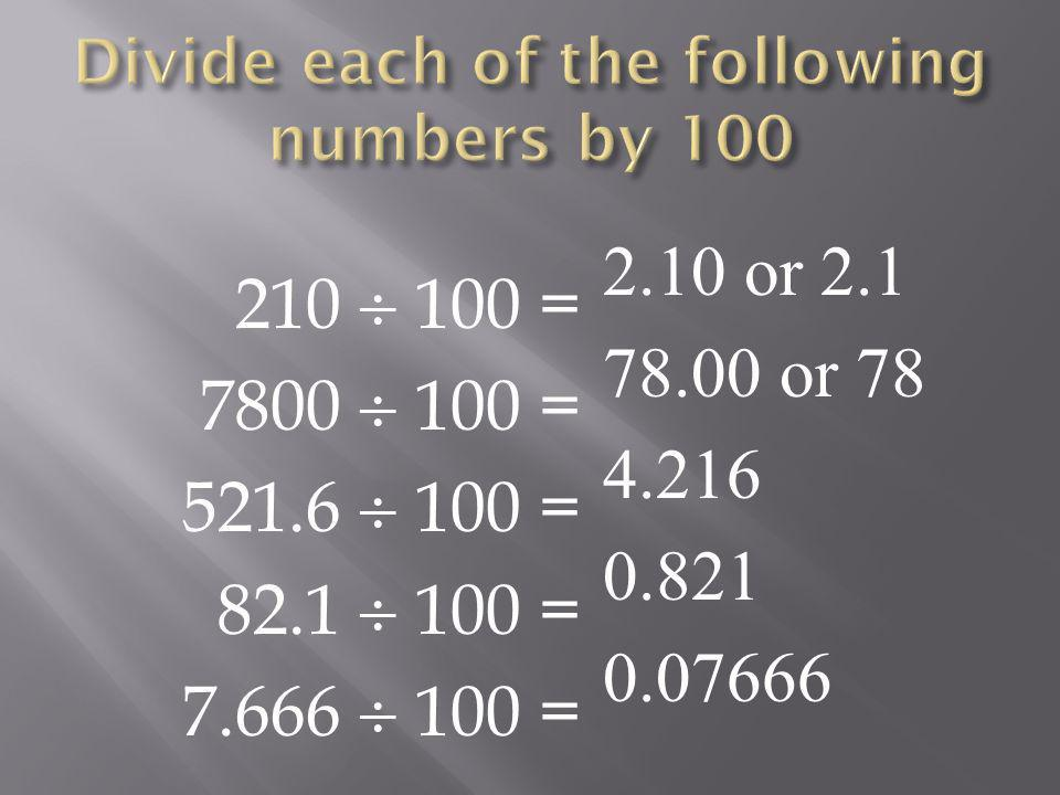 Divide each of the following numbers by 100