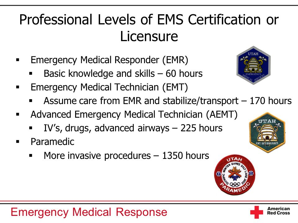 Professional Levels of EMS Certification or Licensure
