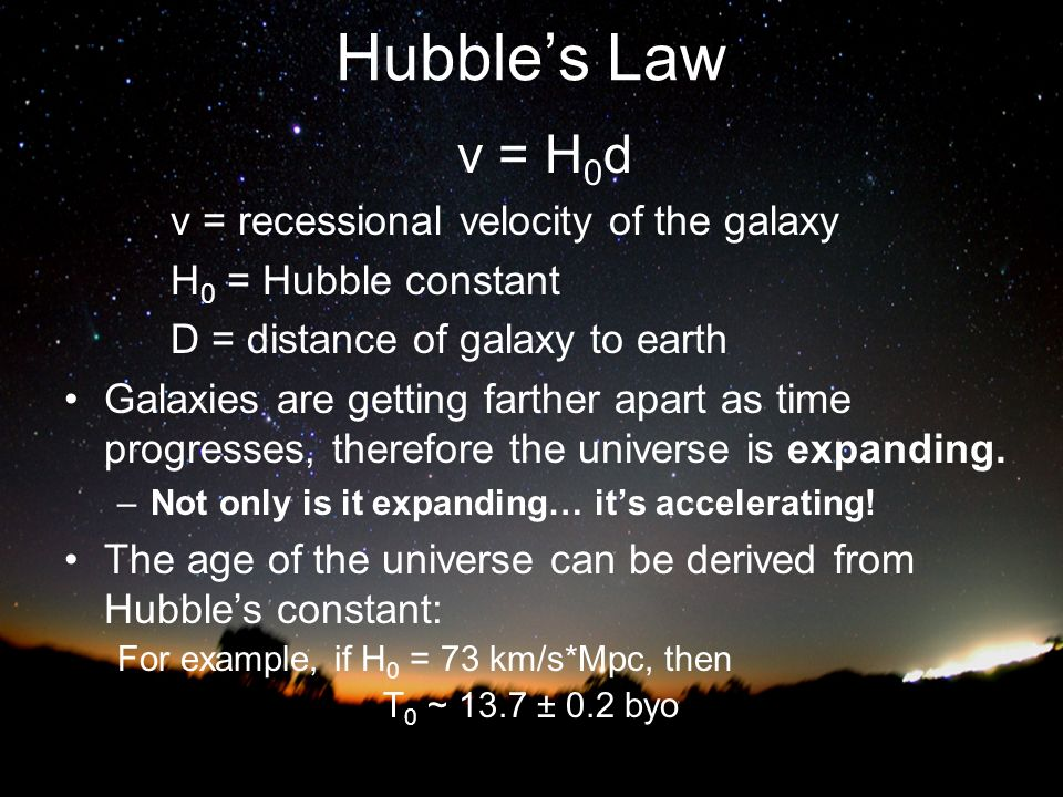 Hubble's Law v = H0d v = recessional velocity of the galaxy