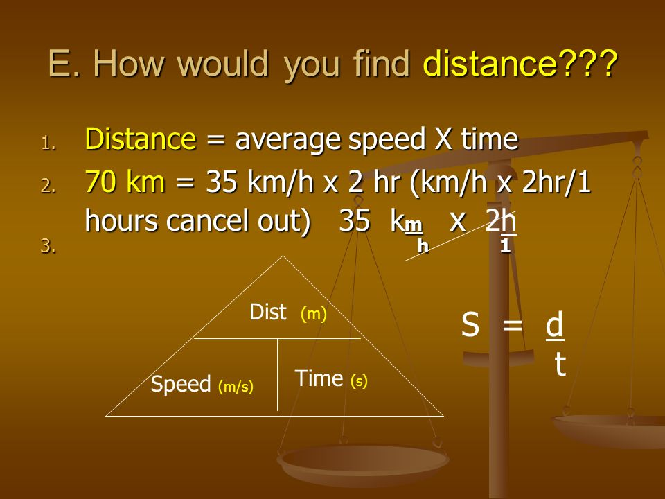 E. How would you find distance