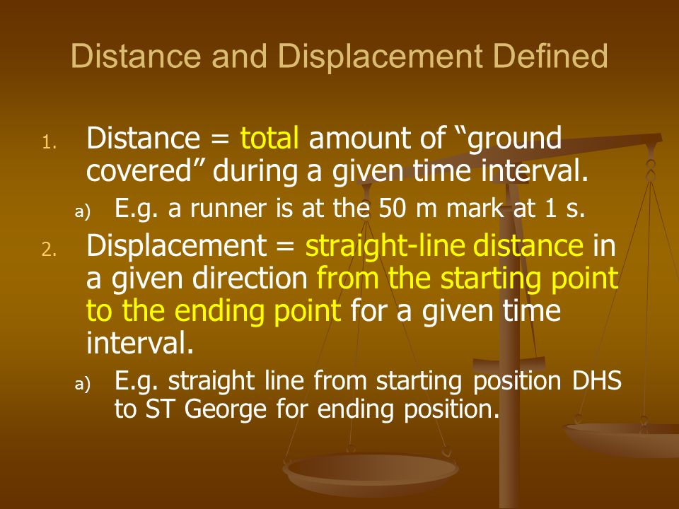 Distance and Displacement Defined