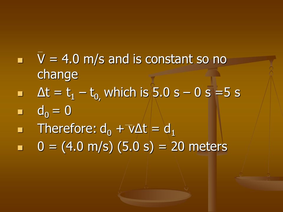 V = 4.0 m/s and is constant so no change