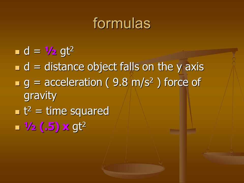 formulas d = ½ gt2 d = distance object falls on the y axis