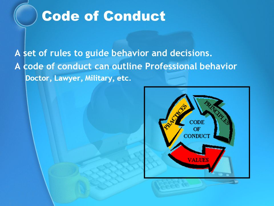 Code of Conduct A set of rules to guide behavior and decisions.