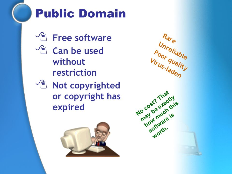 Public Domain Free software Can be used without restriction