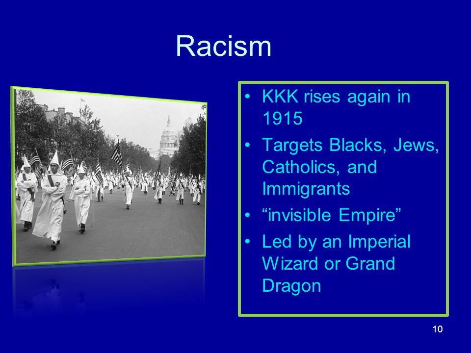 Racism KKK rises again in 1915