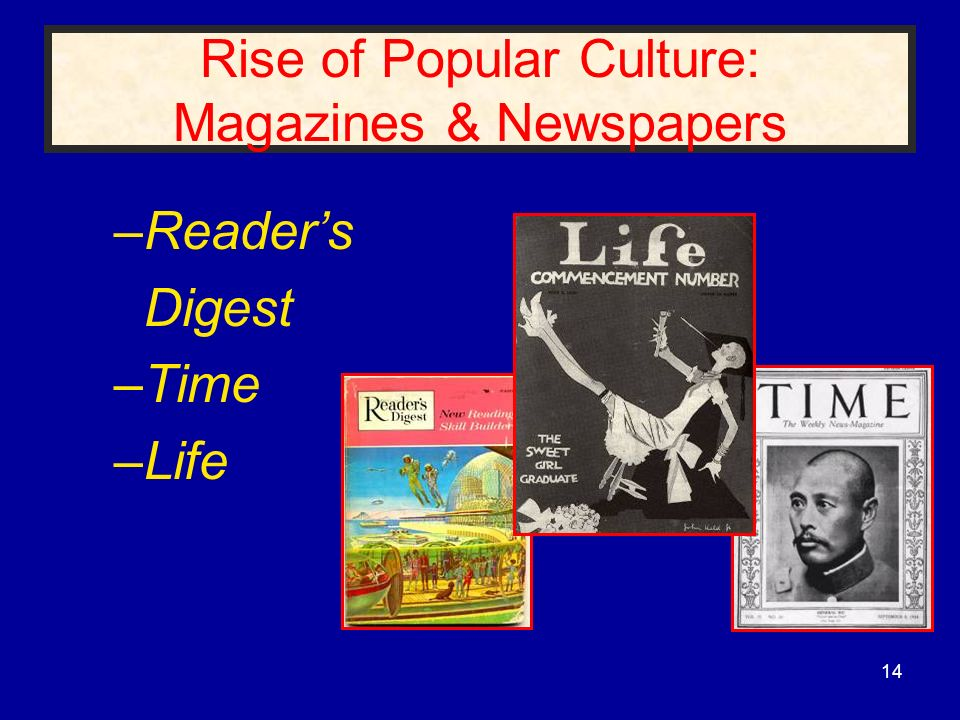 Rise of Popular Culture: Magazines & Newspapers