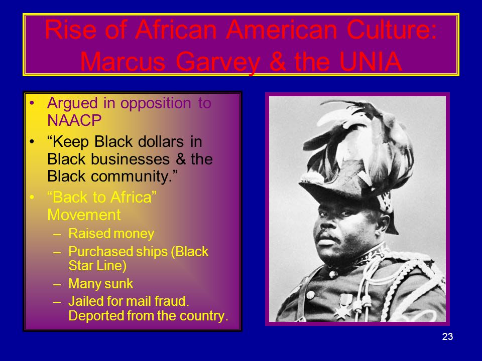 Rise of African American Culture: Marcus Garvey & the UNIA